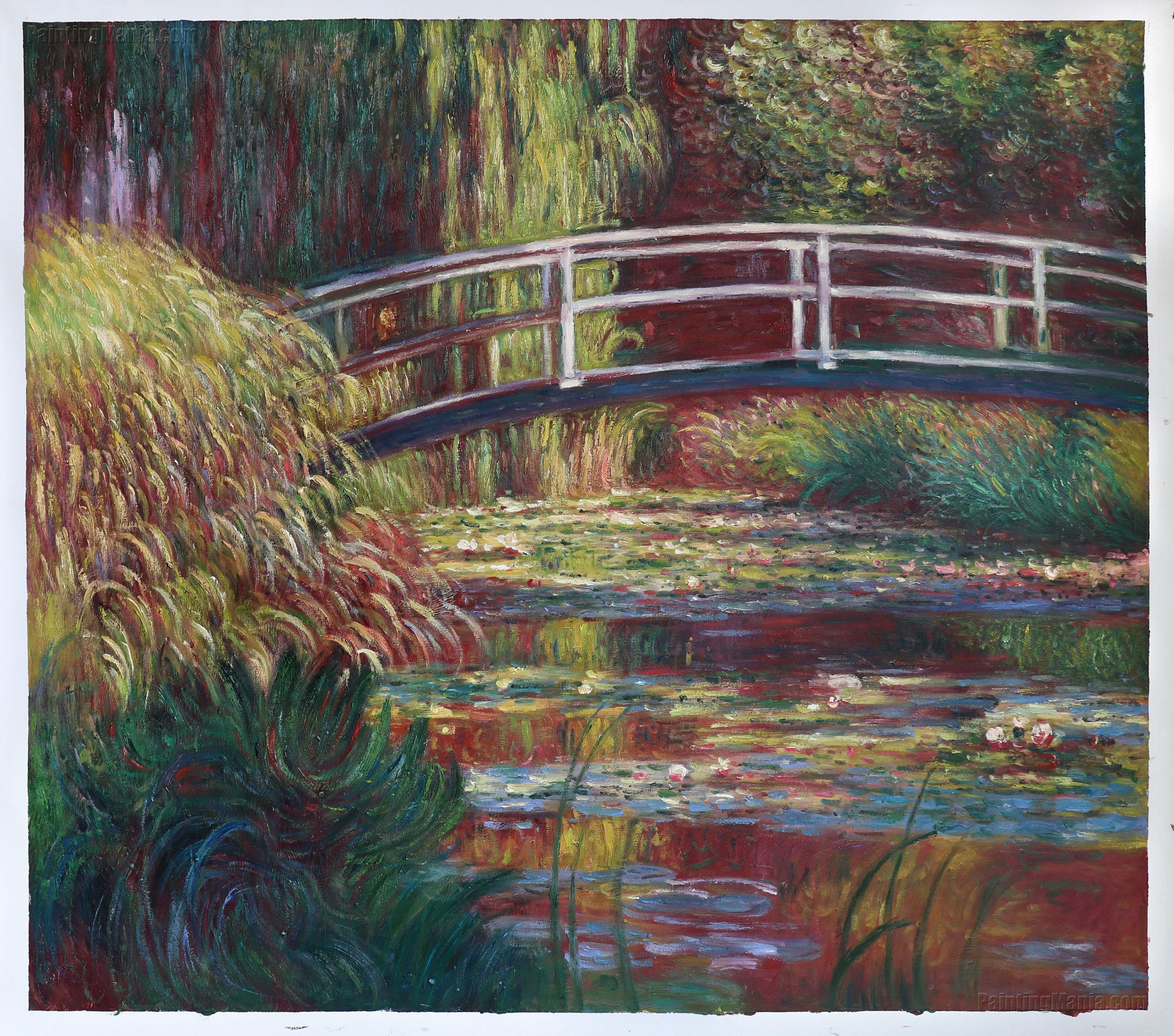 the japanese bridge the water lily pond symphony in rose claude monet paintings. Black Bedroom Furniture Sets. Home Design Ideas