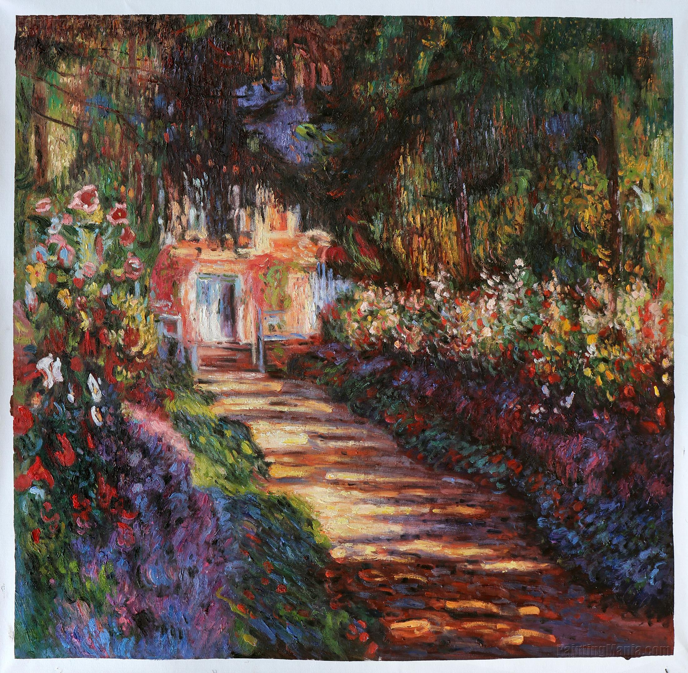 Pathway in Monet\'s Garden at Giverny - Claude Monet Paintings