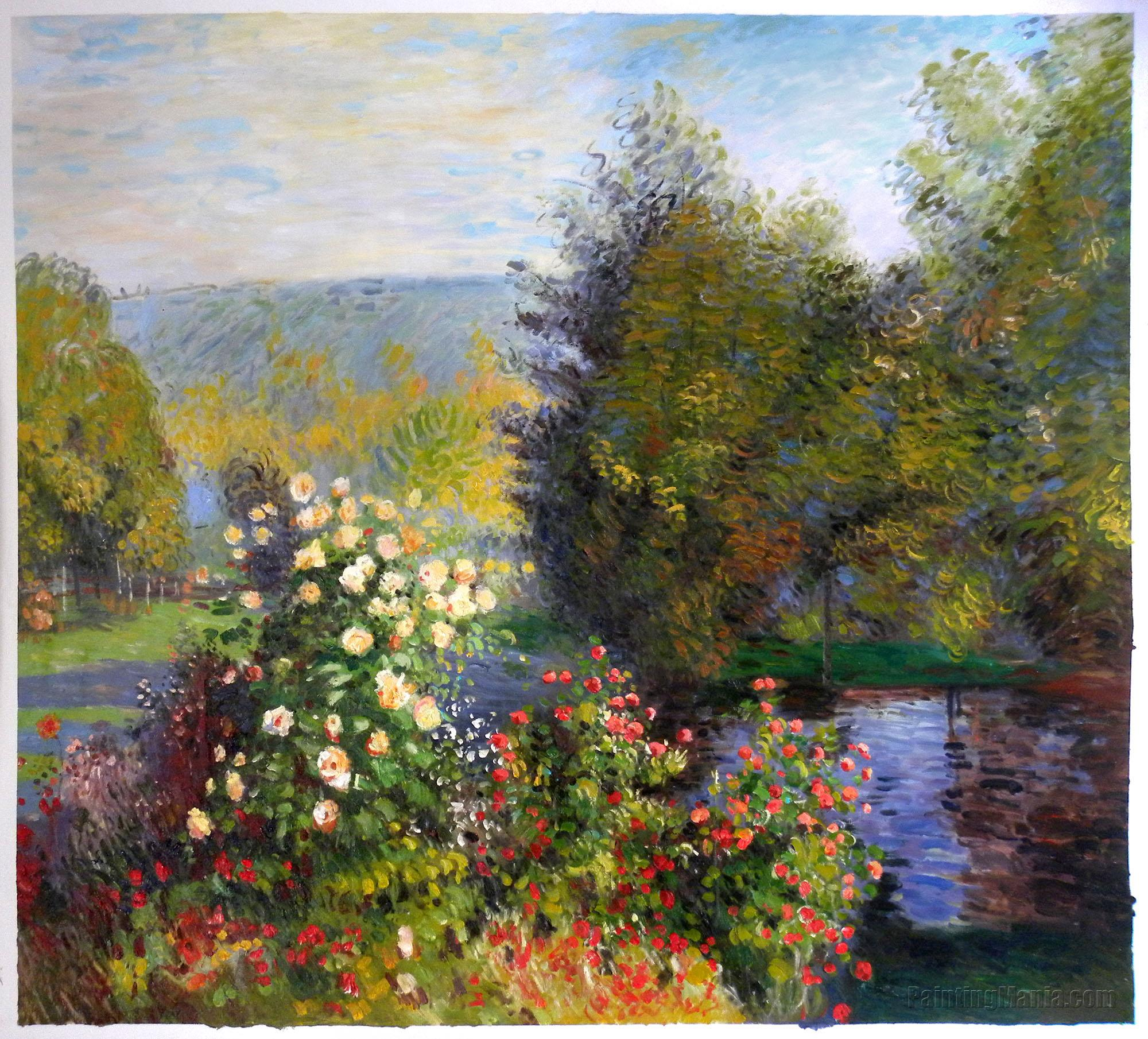 the roses in the garden at montgeron claude monet paintings. Black Bedroom Furniture Sets. Home Design Ideas