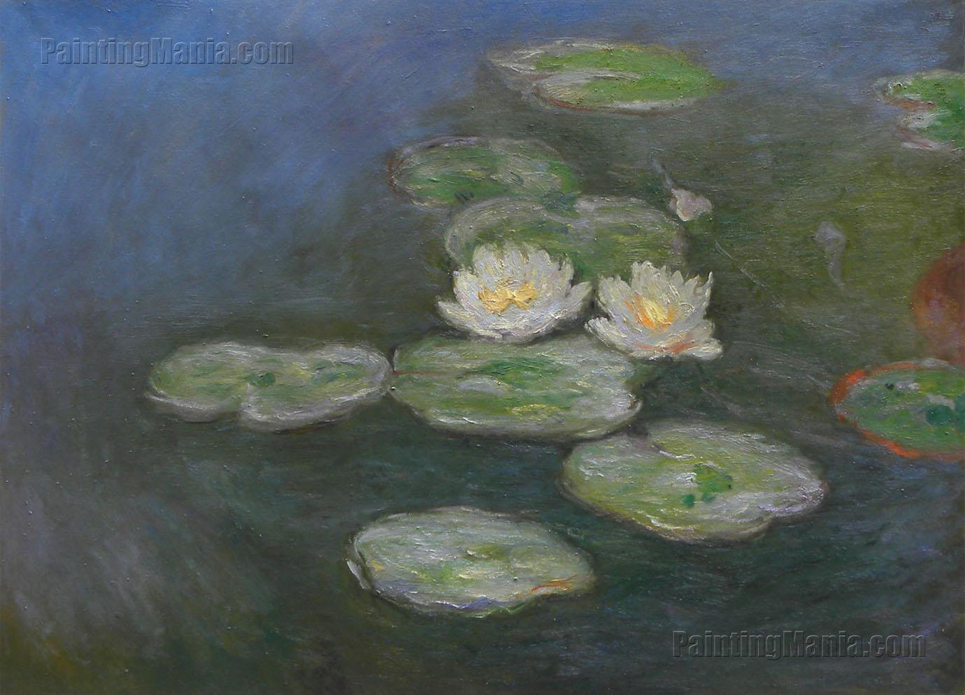Water Lily Pair, lilies flower computer digital painting Hawaii