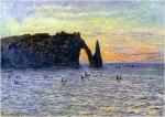 Etretat, Cliff of d'Aval, Sunset 1883