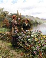 Peasant Girls in Flower Garden