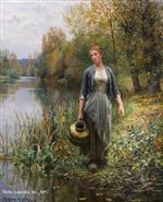 At the Water's Edge (Girl with Copper Jug)