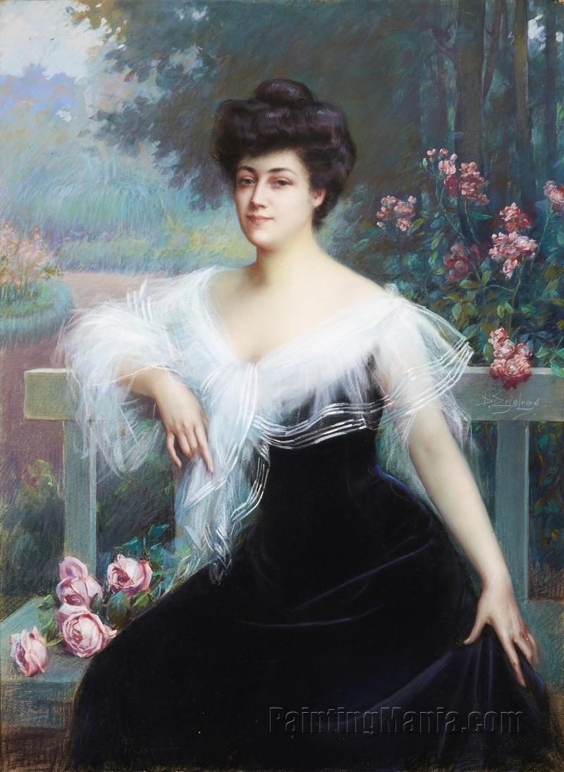 A Portrait of a Lady Seated in a Park