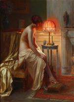 A Semi-nude Lady Seated Beside a Lamp in a Boudoir