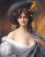 A Young Beauty in a Hat Decorated with Yellow Flowers