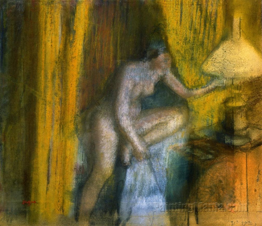 Bedtime (Woman Extinguishing Her Lamp)