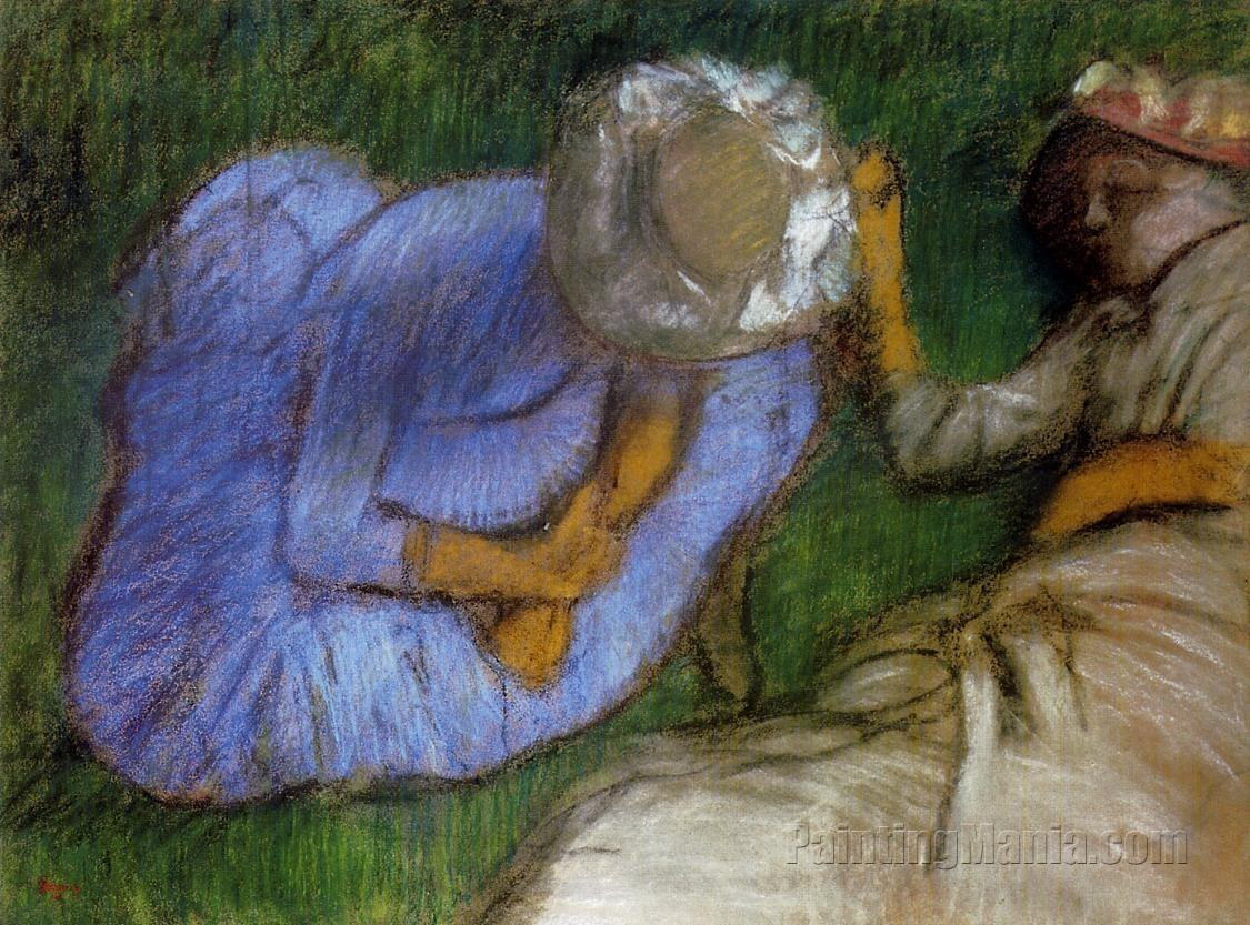 Young Women Resting in a Field