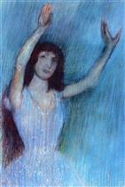 Dancer in Blue, Arms Raised