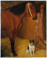 At the Stables. Horse and Dog