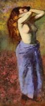 Woman in a Blue Dressing Gown, Torso Exposed