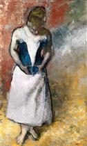 Woman Standing Facing Forward Fastening Her Corseet