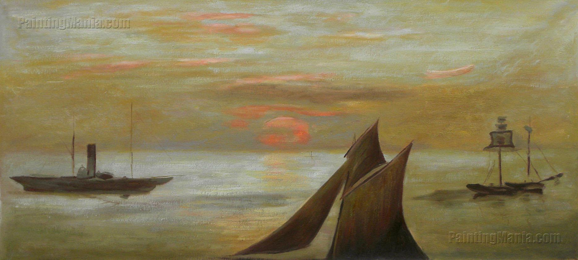 Boats at Sea, Sunset
