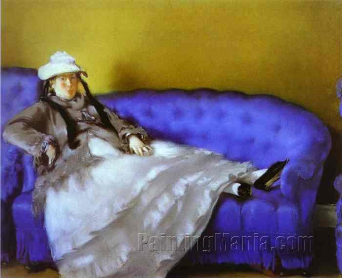 Madame Manet on a Blue Sofa
