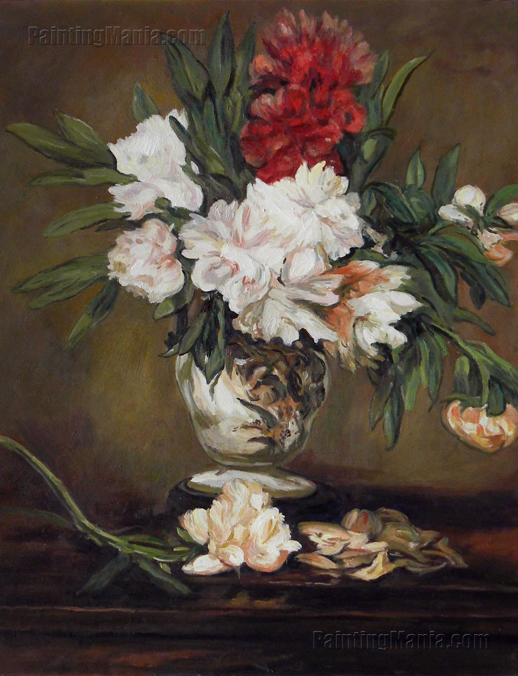 Peonies in a Vase on a Stand