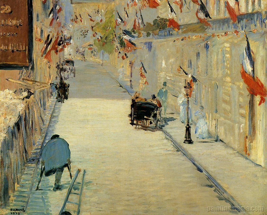 Rue Mosnier Decorated with Flags, with a Man on Crutches