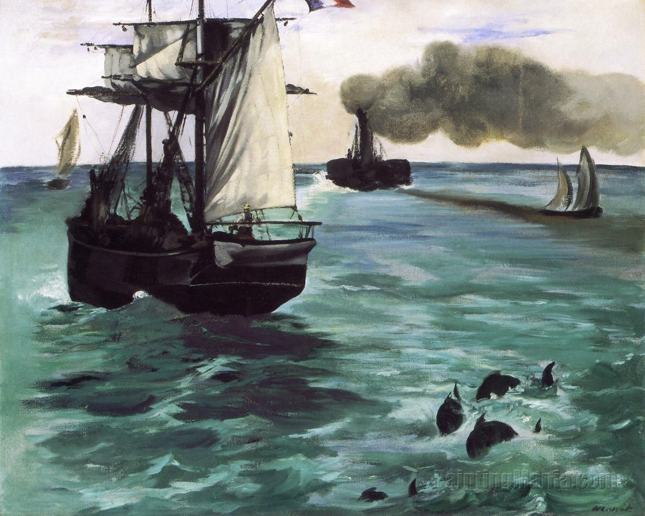 The Steamboat, Seascape with Porpoises