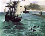 The Steamboat. Seascape with Porpoises