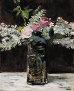 Vase of White Lilacs and Roses