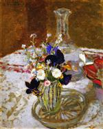 Bouquet of Pansies, Myosotis and Daisies in front of a Carafe, on a Table