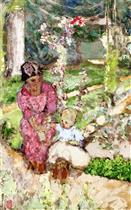 Madeleine Discords and Her Son Bernard in the Garden (Study I)
