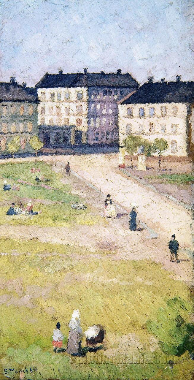 Afternoon at Olaf Rye\'s Square - Edvard Munch Paintings