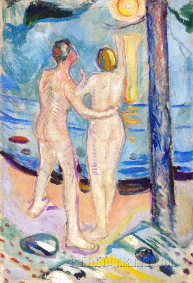 """LINE NUDE ABSTRACT COUPLE ART OIL PAINTING 20x24/"""" STRETCHED"""
