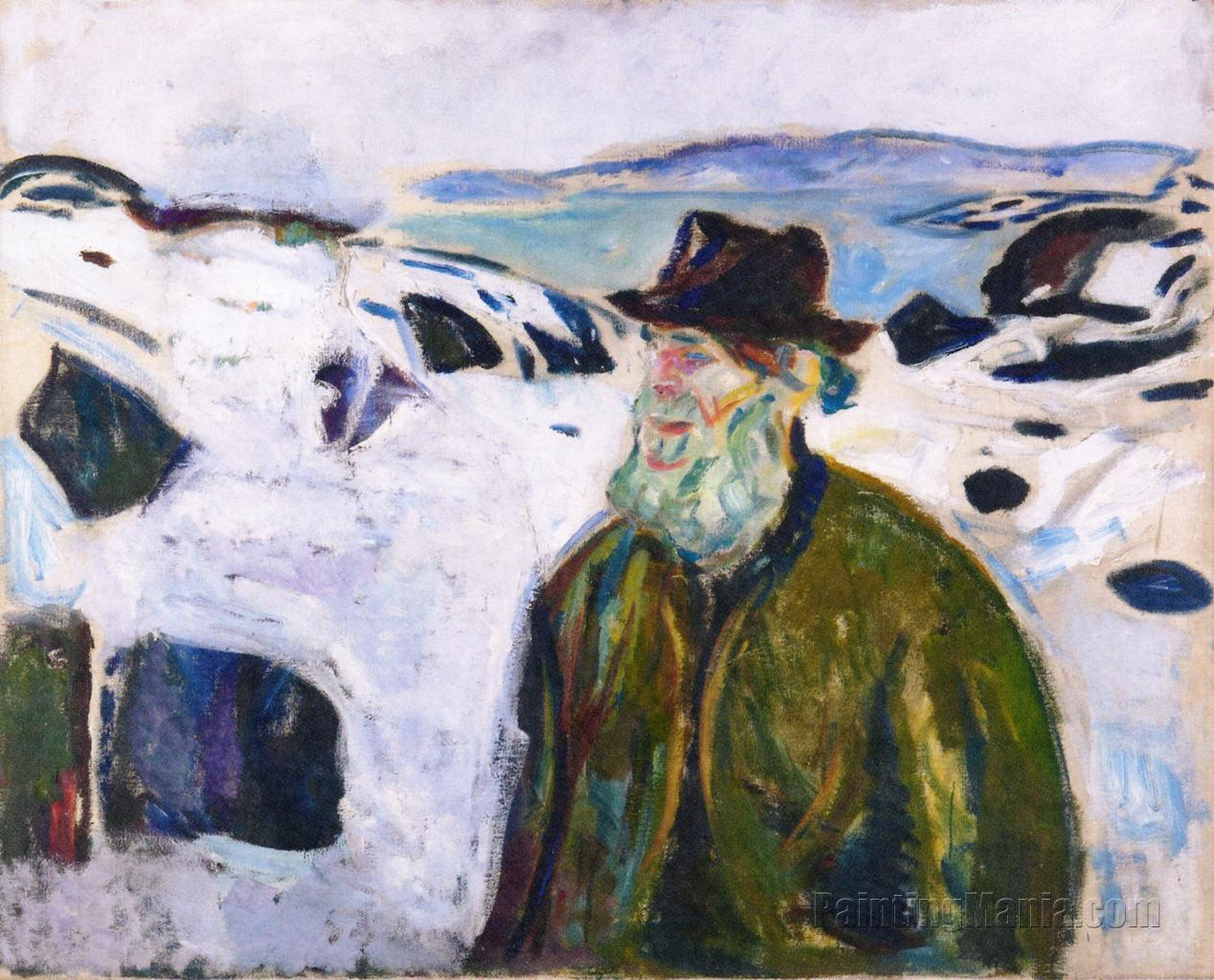 Old Fisherman on Snow-Covered Coast