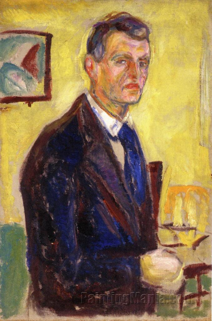 Self Portrait Against Yellow Background, Paintings With Yellow Background