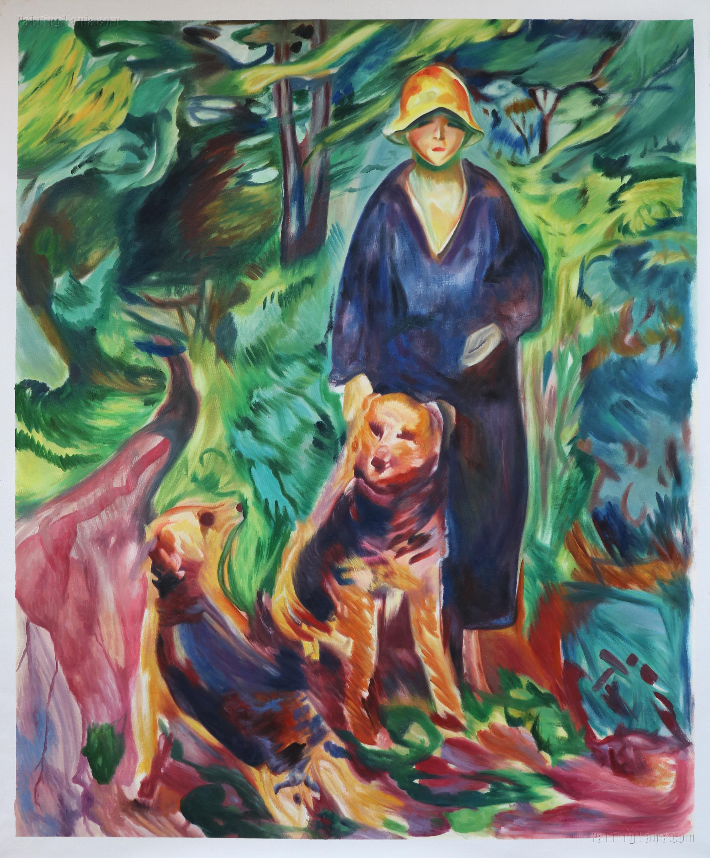 Woman with Airdale Terrier