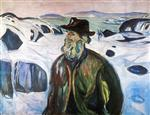 Old Fisherman on Snow-Covered Coast 1930