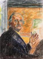 Self-Portrait with Pastel Stick