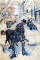 Snow Shovelers on the Building Site