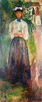 Young Woman among Greenery