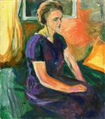 Young Woman in a Blue Dress, Seated