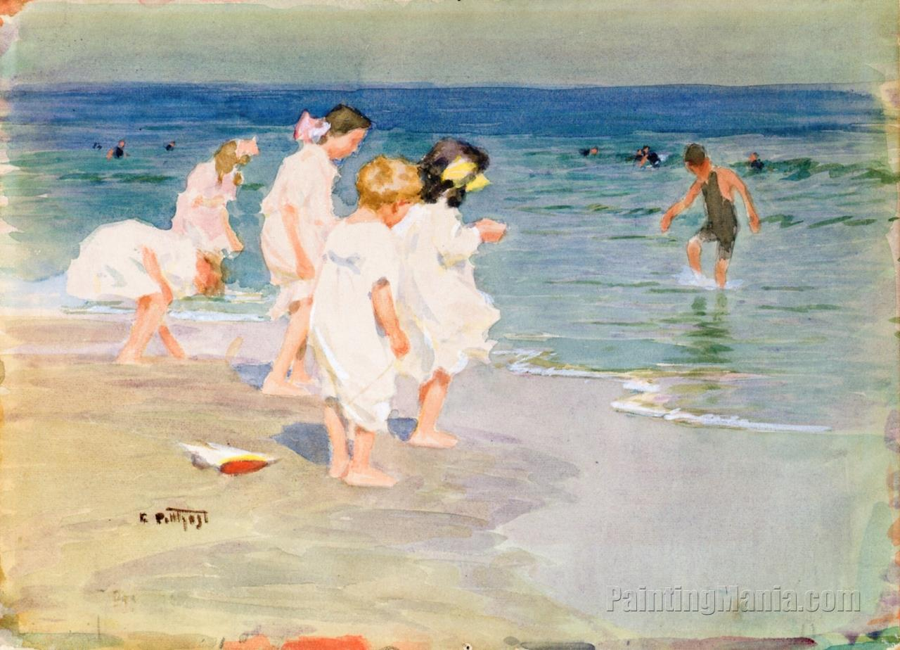Children Playing at the Beach 1915
