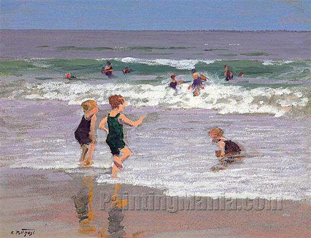 Children Playing in Surf