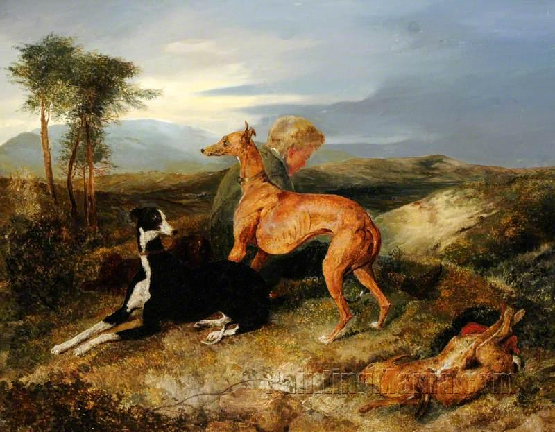 A Boy and Two Greyhounds Resting