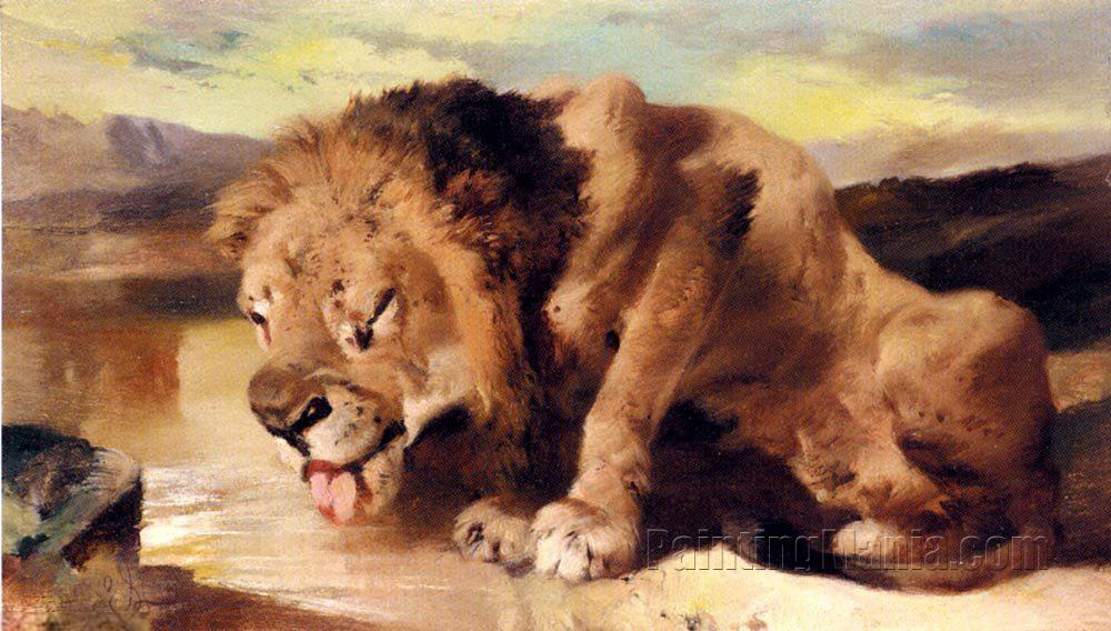 Lion Drinking at a Stream