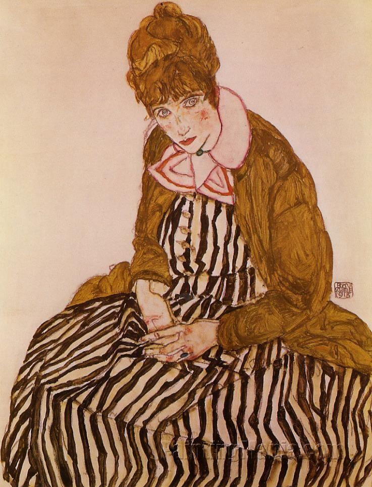Edith Schiele, Seated
