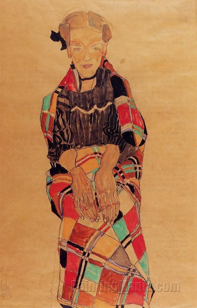 Girl in Black Pinafore, Wrapped in Plaid blanket