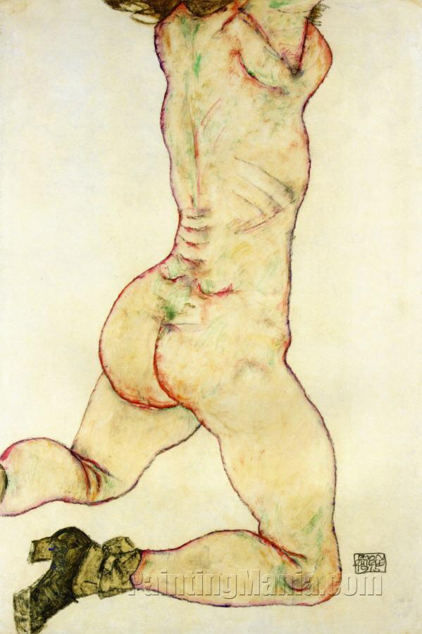 Kneeling Female Nude, Back View