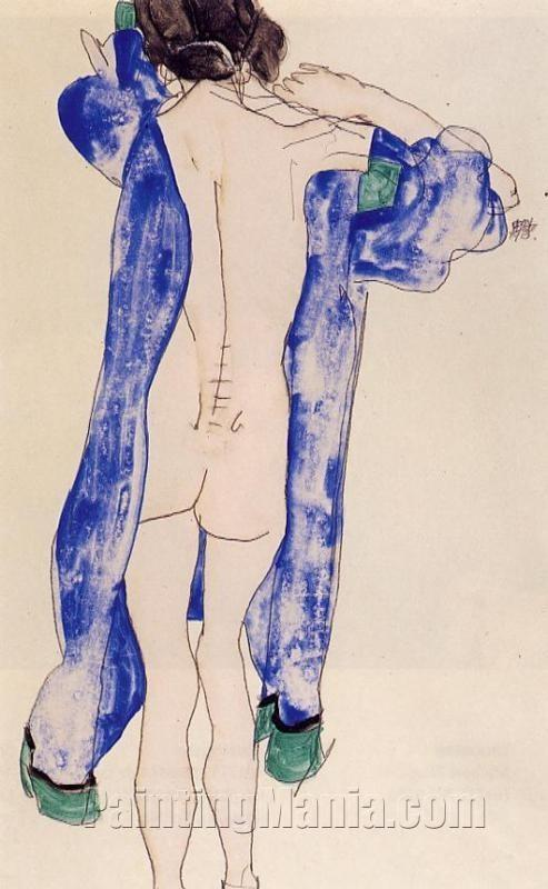 Standing Female Nude in a Blue Robe