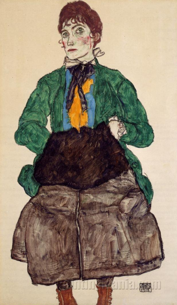 Woman in a Green Blouse and Muff