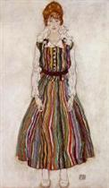 Portrait of Edith Schiele in a Striped Dress