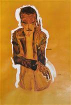 Portrait of Eduard Kosmack with Raised Left Hand