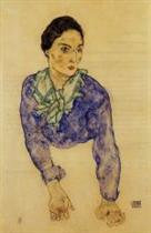 Portrait of a Woman with Blue and Green Scarf