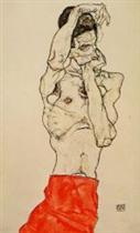 Standing Male Nude with a Red Loincloth