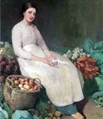 Girl in Vegetable Shop