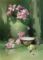 Vase of Roses with Porcelain Bowl